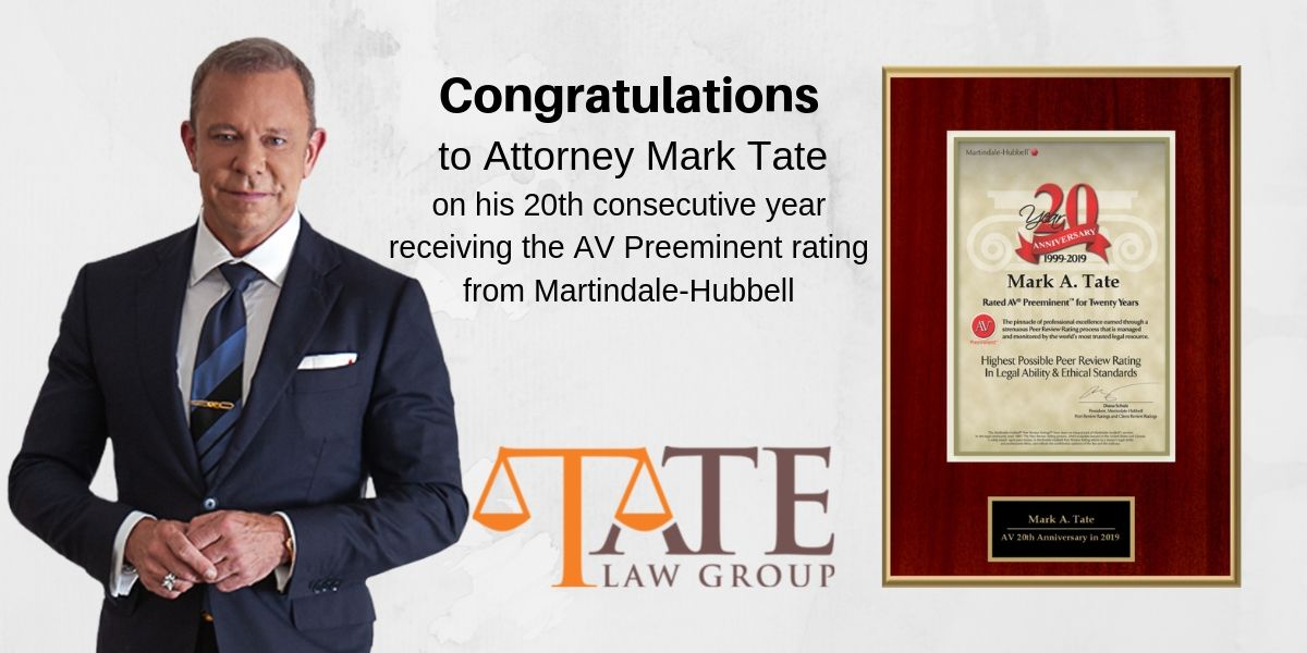 Attorney Mark A. Tate Receives Highest Possible Peer Review Rating for the 20th Consecutive Year